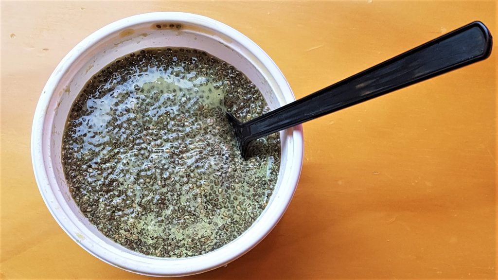 Matcha Green Tea Chia Seed Pudding Food Review of Natural Healthy Vegan Food Subscription Service Sprout Seoul in Korea
